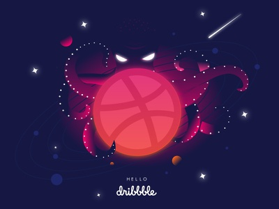Hello Dribbble octopus space galaxy gradient illustration