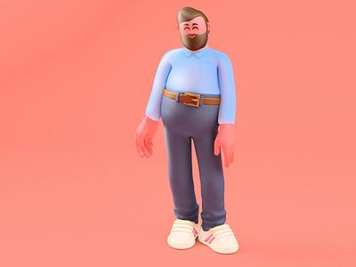 Pink Office Guy design illustration character design c4d 3d art