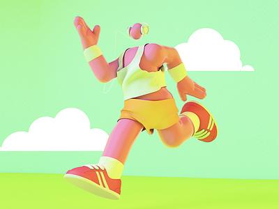 Morning runner design character design illustration c4d 3d art