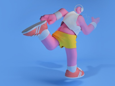 Runner on blue zbrush marvelousdesigner cinema4d 3dart character design illustration design c4d 3d art