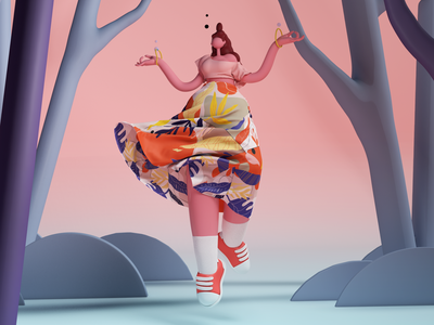 Meditation in forest illustration icon zbrush cinema4d 3dart character design design c4d 3d art