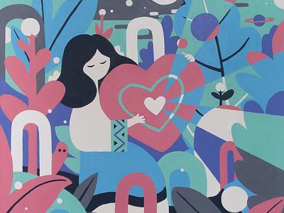 Mother Estonia acrylic painting acrylic character design illustration