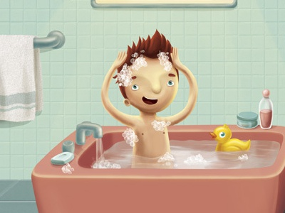 bath (2007) bathroom shower water bathtube bath children kids illustration