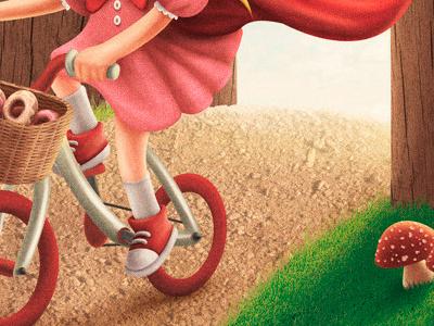 fairytale III - little red riding hood child girl kid children bike mushroom tennis forest red riding hood fairytale bicycle