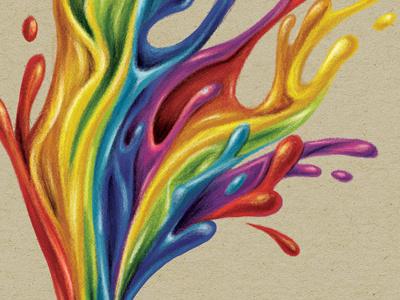 P A I N T / schoolbook cover pencil artbook art split rainbow colors colorful ink paint