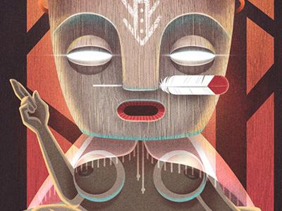 album cover - frente bolivarista (detail) as above so below mystery alchemy tropical native feather goddess tribal mask album cover