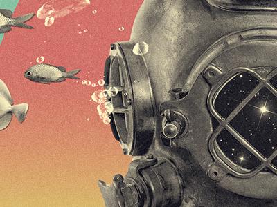 confissão surreal space fishes city collage fish diving diving suit diver