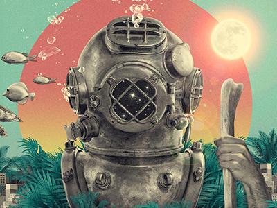 confissão II fish surreal diver mask jungle city bubbles diving suit