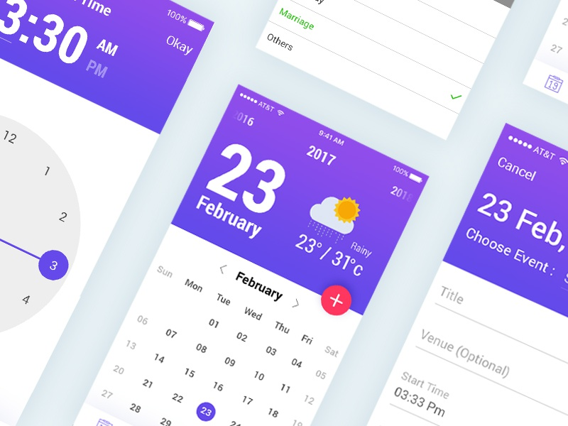 Calender Application for Android & iOS bala ux mobile app weather idea date minimal creative user interface ux ui design calender