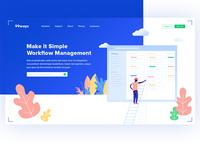 Workflow management landing page design