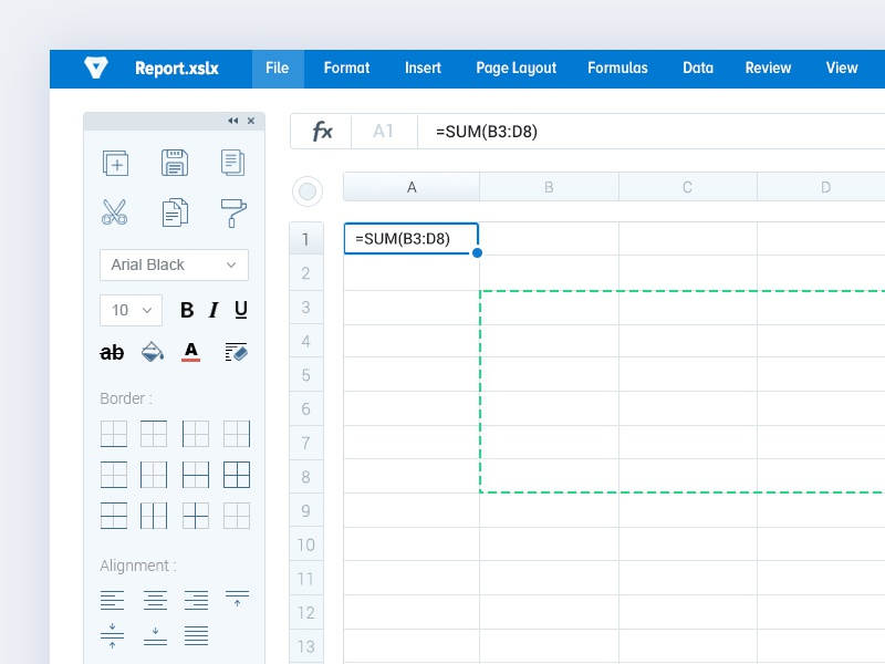 spreadsheet with toolbar excel by bala ux dribbble dribbble