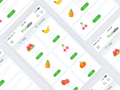 Ecommerce app grid and list view - wireframe design