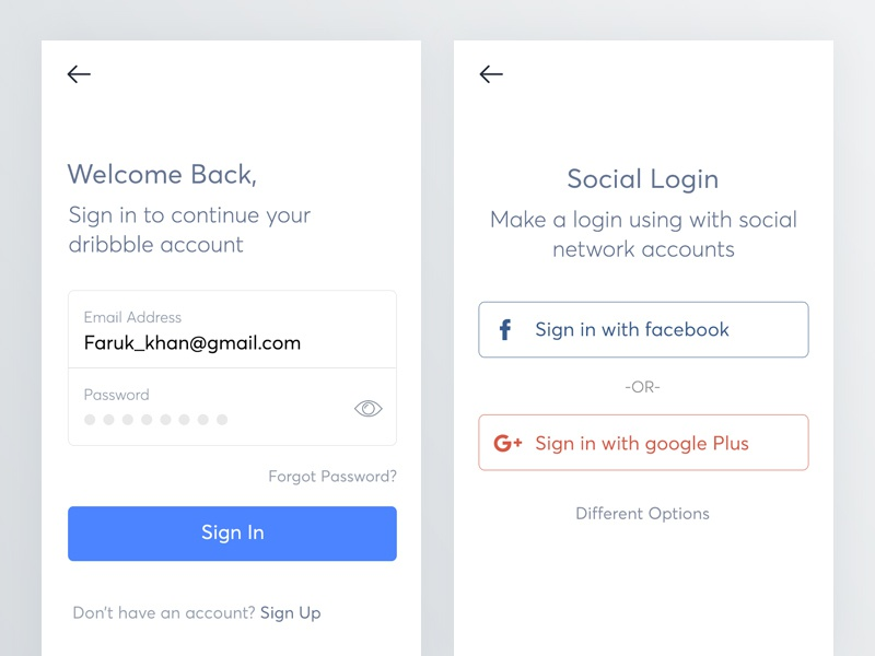 Email login and social login for mobile app by Bala UX ✪ on