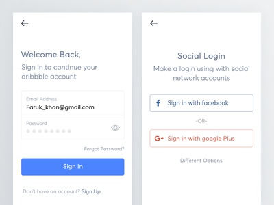 Email login and social login for mobile app
