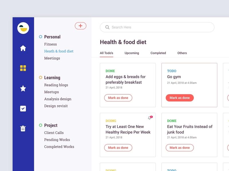 Todo Dashboard UI Design by Bala UX ✪ on Dribbble