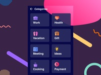 Todo app categories selection UI design