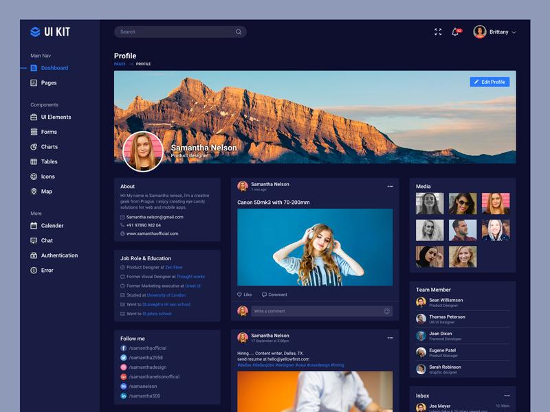 User profile page UI design dark ui dark dash dashboard design ui bala ux
