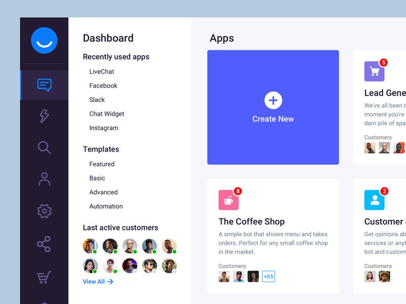 Chat management dashboard UI design bot active users left menu left nav sidebar cards create new ux ui design app chat app management app chatbot dash dashboard ui dashboard dashboard design chat bala ux