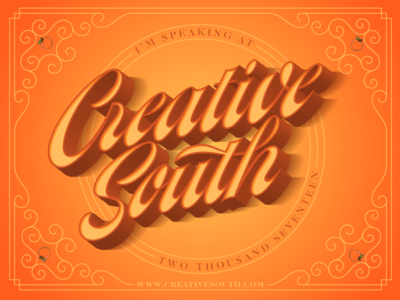 Creative South! logotype script vector lettering