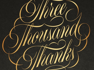 Three-Thousand Thanks! flourishes flourish thanks script vector lettering