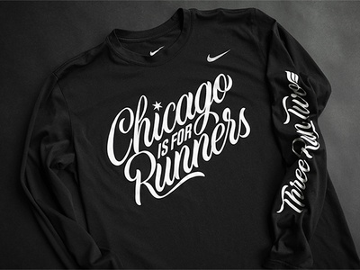 Chicago is for Runners! chicago brush script script lettering apparel running