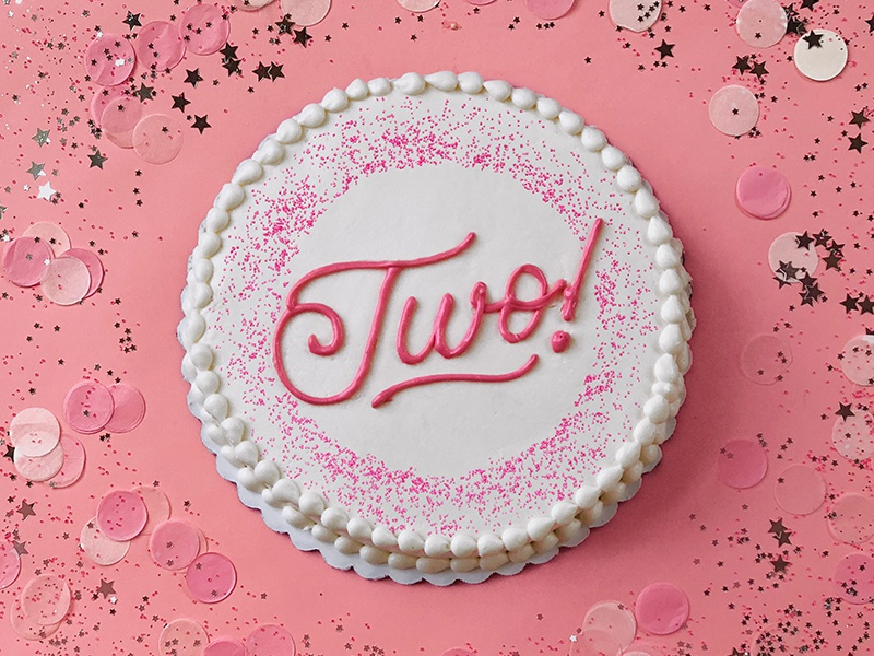 I Just Turned Two! cake photography lettering