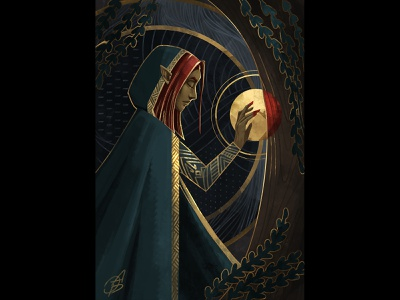 Elf pattern art deco elves elf fantasy 2d art cgart gradient gold design illustration