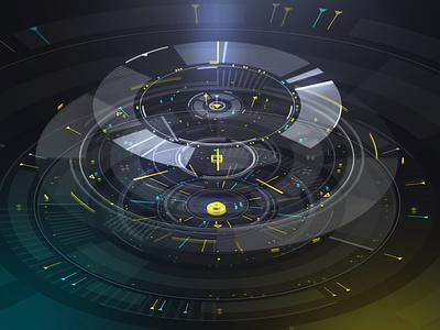 Circular interface elements interface movie futuristic ui future futurism cyberpunk sci-fi scifi illustration ux ui vector