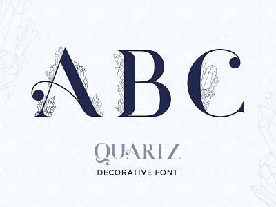 Quartz. Decorative Font letter typography font crystal gems quartz