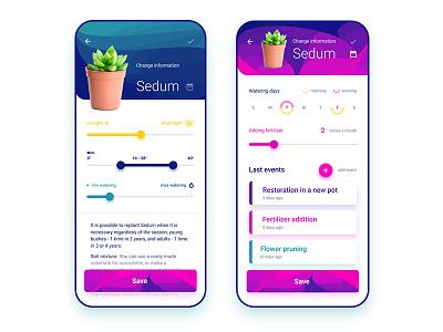 Plant Calendar App calendar herb daily ui interface design pot web ux ux-ui flowers plant pink gradient figma ios applicaiton app design ui vector