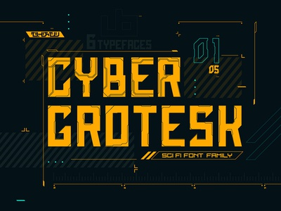 Cyber Grotesk Font Family game interface game ui letter typeface type technology 1980s futurism cyberpunk scifi font branding typography vector