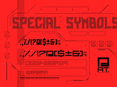 Cyber Grotesk Symbols interface game ui hud letter sanserif technology tech retro 1980 futurism future cyberpunk cyber scifi font vector typography