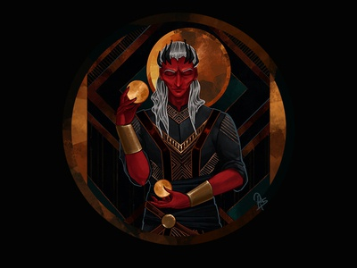 Concentration 2d fantasy art magic red man art deco character game art gold illustration ui