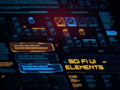 Big Sci Fi Elements Set scifi sci fi futuristic future space interface movie game hud ux design ui illustration vector
