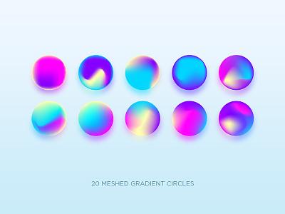 Gradients circles neon rainbow hologram logo branding design illustration gradient vector