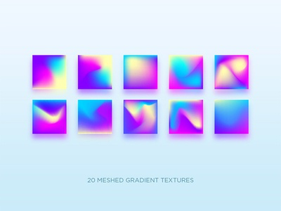 Mesh gradients yellow blue pink bright holography hologram neon app branding design illustration gradient vector