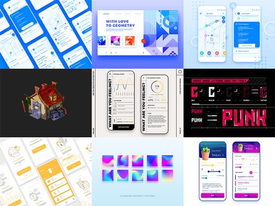 Best of 2019 font typography web app ux design ui illustration gradient vector