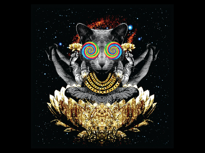 Mellow Mushroom 9 Mantras Tee 2  2 chains legs lotus space psychedelic cat kitty mm mellow mushroom