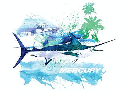 Mercury Saltwater Tee watercolor marlin motors mercury