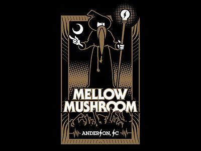 Mellow Mushroom Anderson, SC Tee sc south carolina anderson electric city sage wizard pizza