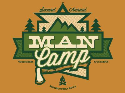 mancamp™ camping axe trees mountains man stuff halftones