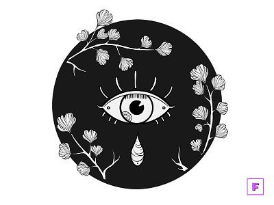 Ginkgo Eye ginkgo eye dark darkwork blackwork drawing aesthetic digitalpainting digitalart illustration