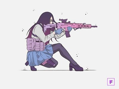 Gun Girl badass girl mangaart digitalpainting aesthetic digitalart drawing manga illustration