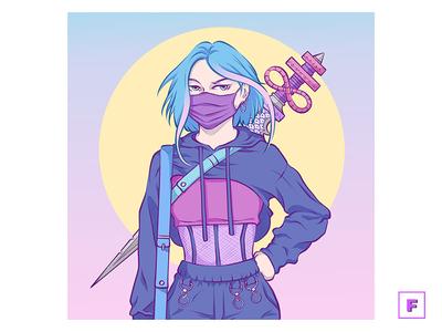 Brimstone Girl streetwear sword girl moon mangaart digitalpainting aesthetic anime digitalart drawing manga illustration