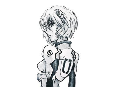 Rei traditionalart evangelion digitalart pencil rei manga illustration fanart drawing digitalpainting anime