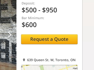 Request Quote venue button ranges price location map photos