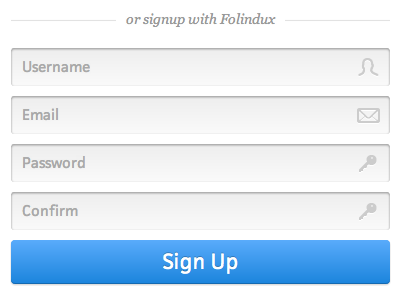 Signup Form signup register inset form icons mail sign up profile fields button user key