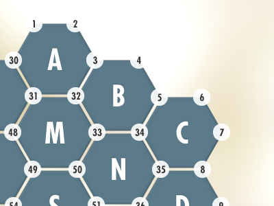 Mapping Nodes nodes hexagons numbers tiles layout hexagon board array grid
