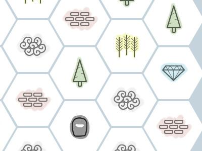 Prototyping Tile Icons icons brick wheat hexagon diamond hexagons sheep tiles jewl crystal tree wool