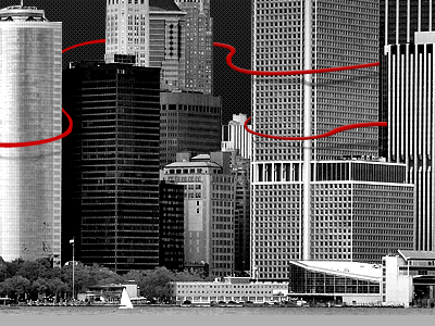 NYC ribbon new york buildings illustration winding meandering